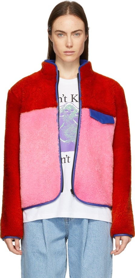 Ashley Williams Red & Pink Shearling Alice Jacket