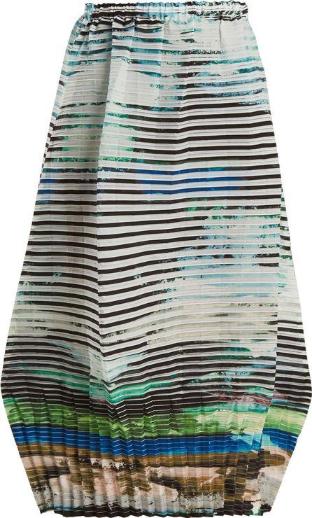 Issey Miyake Plate Pleats landscape-print midi skirt