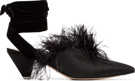 Attico Black feather embellished 45 velvet and satin mules