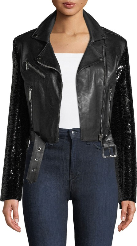 Nour Hammour Let's Dance Cropped Leather Jacket w/ Sequin Sleeves