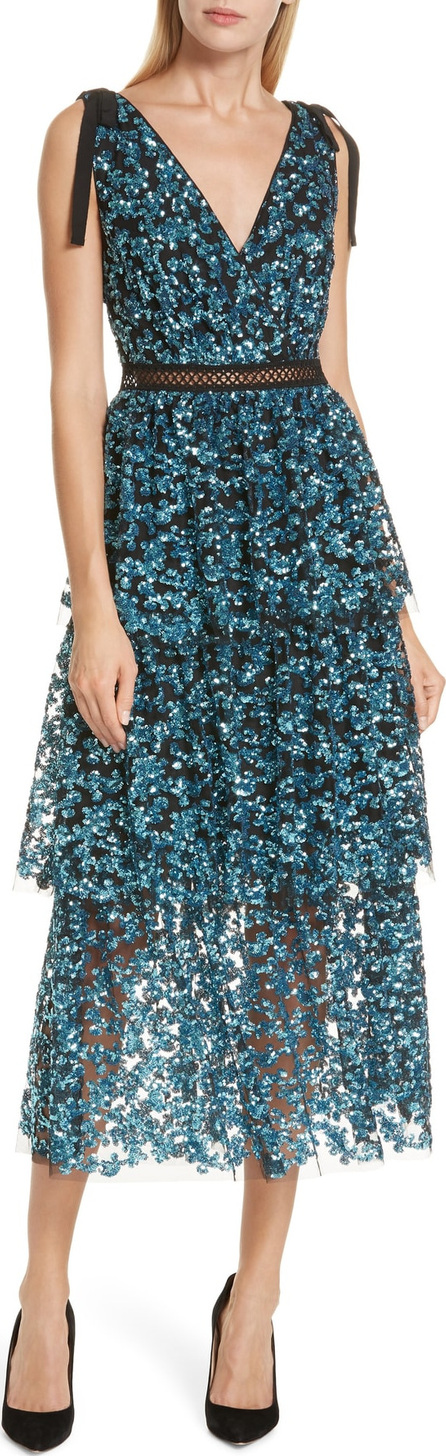 Self Portrait Tiered Sequined Midi Dress