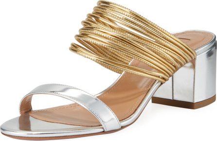 Aquazzura Rendez Vou Metallic Slide Sandals