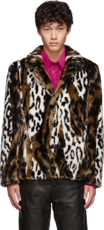 Neil Barrett Multicolor Leopard Faux-Fur Slim Jacket