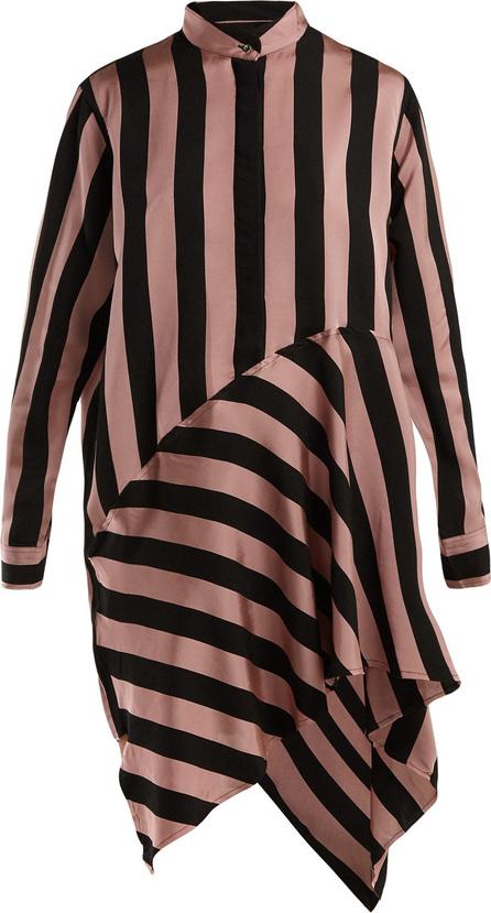 Marques'Almeida Striped asymmetric satin shirtdress