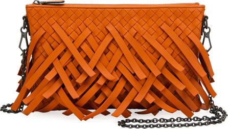 Bottega Veneta Palio Fringe Woven Leather Zip-Top Pouch Crossbody Bag