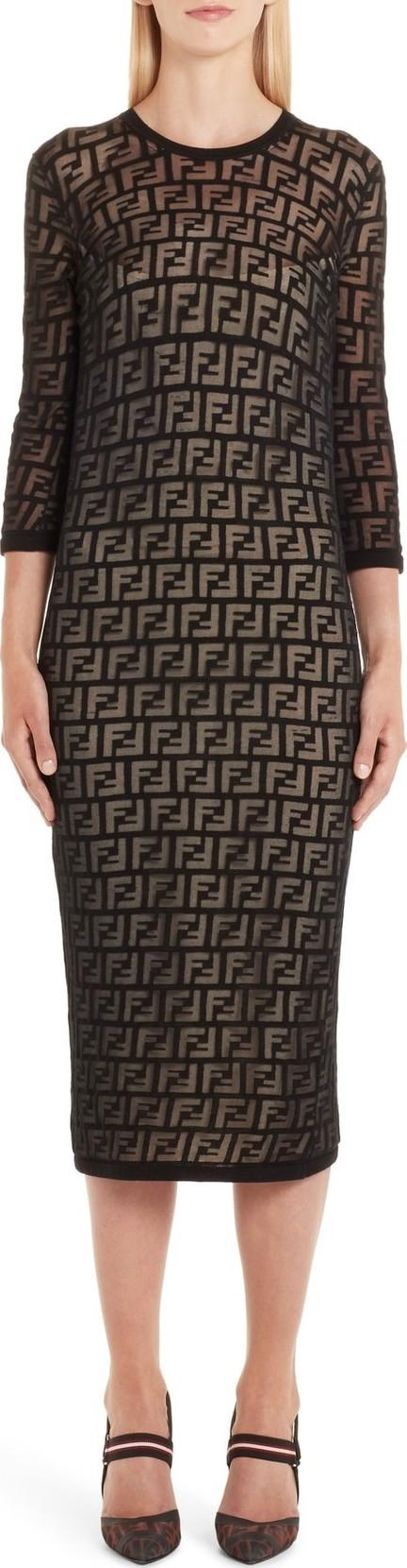 Fendi FF Devoré Knit Dress