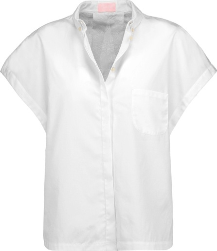 GIAMBA Asymmetric cotton-poplin and embroidered cotton-blend shirt