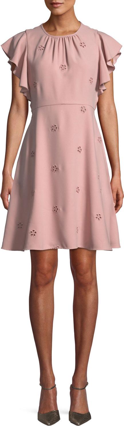 Kate Spade New York cutout crepe dress w/ flutter sleeves