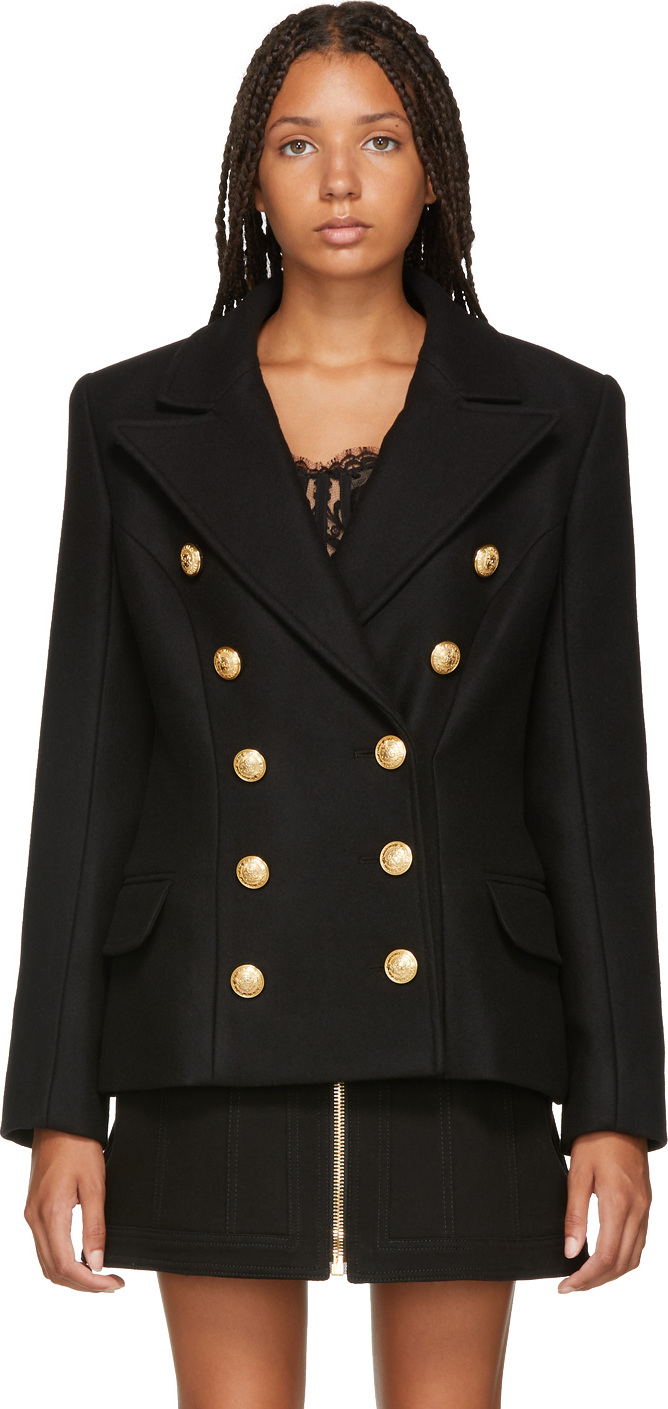 Balmain - Black Wool & Cashmere Double-Breasted Jacket