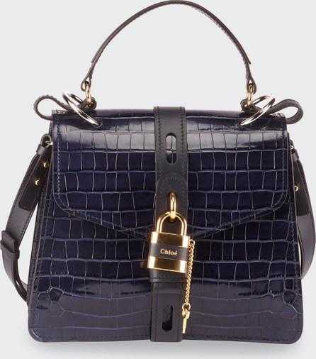Chloe Aby Croc-Embossed Shoulder Bag