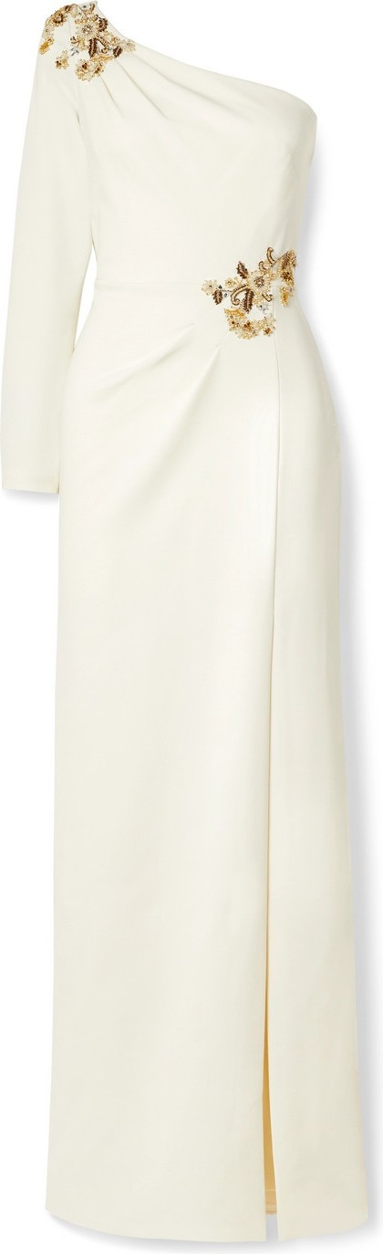Marchesa Notte One-sleeve embellished crepe gown
