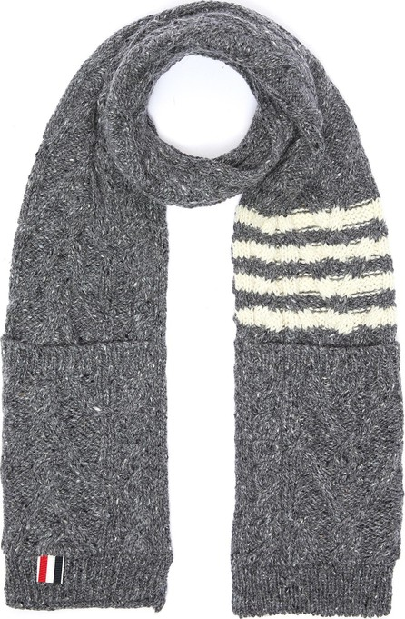 Thom Browne Patch pocket stripe wool-mohair cable knit scarf
