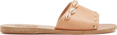 Ancient Greek Sandals Taygete shell-embellished leather slides
