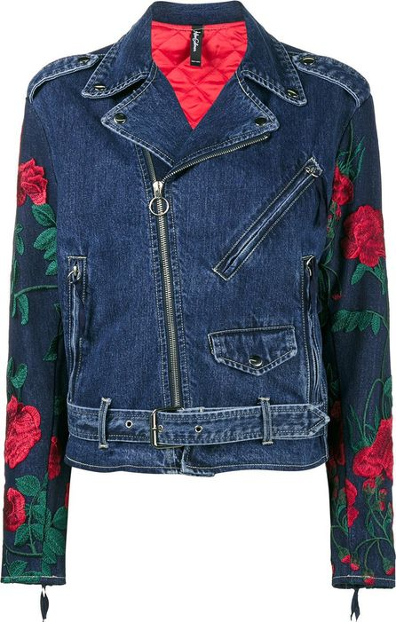 Adam Selman rose embroidered denim biker jacket