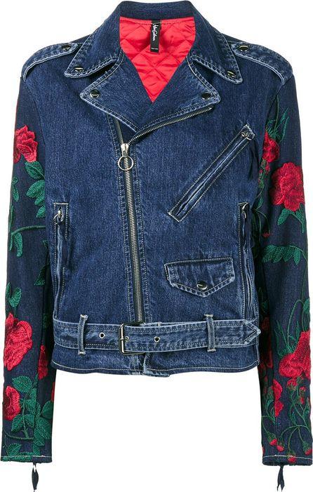 Adam Selman rose embroidered denim biker jacket