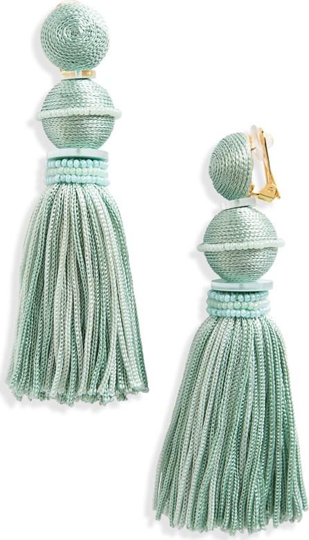 Oscar De La Renta Clip Tassel Drop Earrings