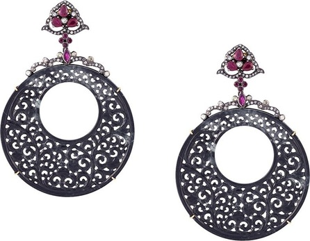 Gemco ruby carved hoop earrings