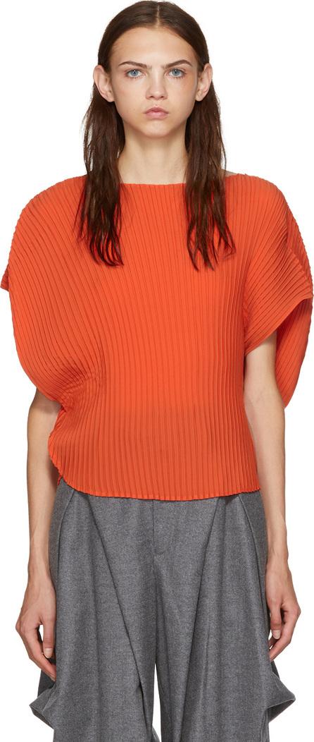 Issey Miyake Orange Circular Sunlight Pleats Blouse