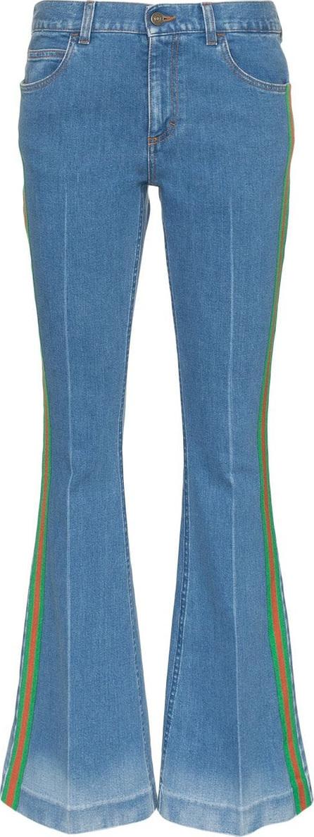 Gucci Stripe embellished flared-leg cotton jeans