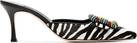 Manolo Blahnik Black and white Mafrisa 70 zebra ponyskin mules