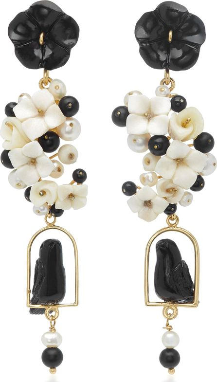 Of Rare Origin Nester 18K Yellow Gold Vermeil, Onyx, White Agate, Horn and Pearl Earrings