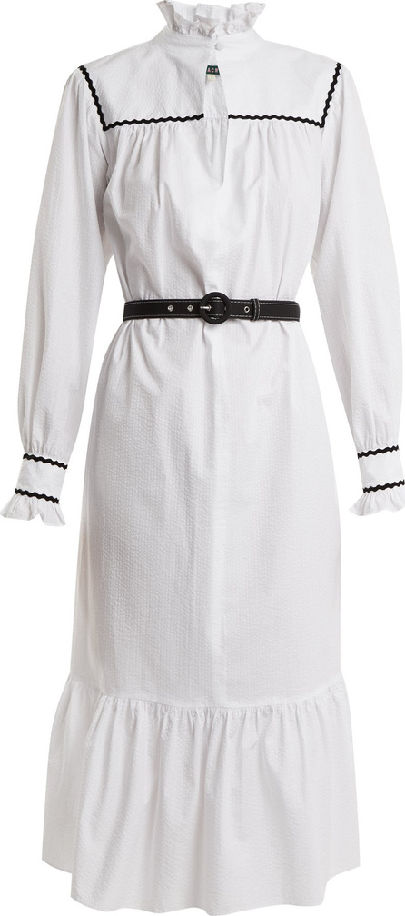 Alexachung Ric rac-trimmed cotton-seersucker dress