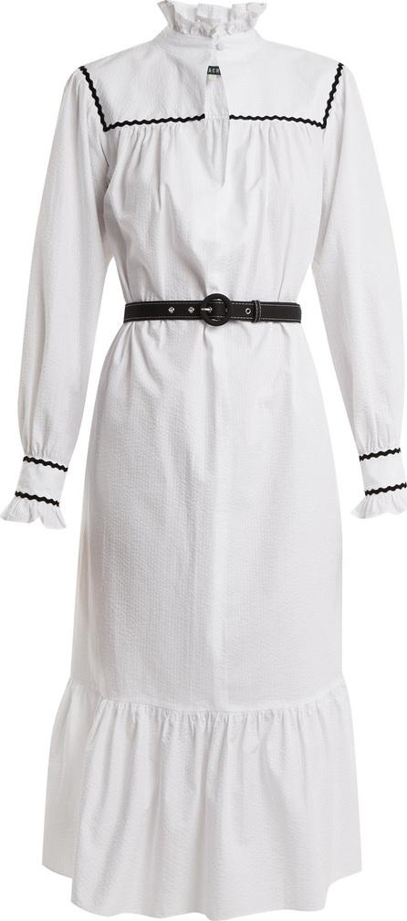 Alexachung Ric rac-trimmed cotton-seersucker dress