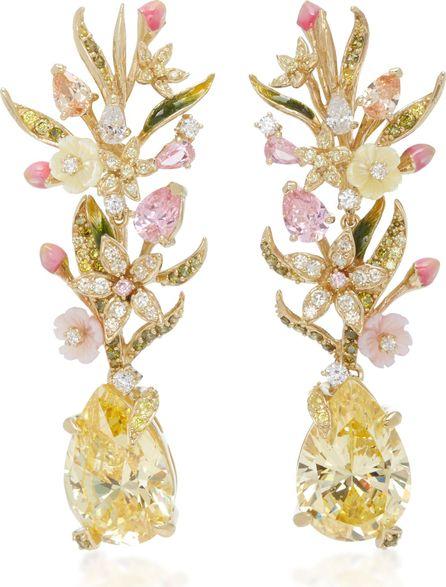 Anabela Chan Posy Canary 18K Gold Diamond Earrings