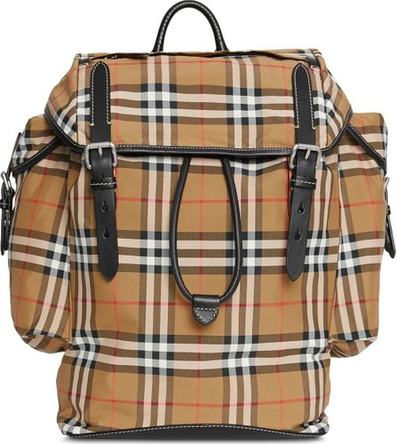 Burberry London England Vintage Check and Leather Backpack