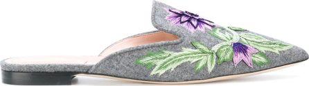 Alberta Ferretti floral embroidery slippers