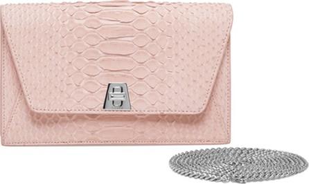 Akris Anouk Sueded Python Mini Clutch Bag, Light Pink