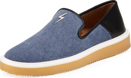 Giuseppe Zanotti Men's Canvas/Leather Slip-On Sneakers