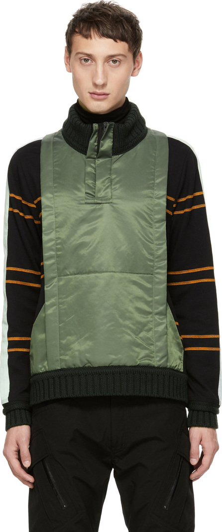 Craig Green Black & Green Ridge Knit Zip-Up Sweater