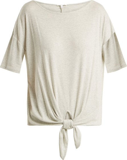 SKIN Nadene knot-detail ribbed-jersey T-shirt