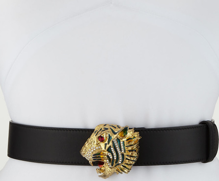 Gucci Tiger-Buckle Leather Belt