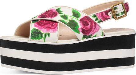 Gucci Peggy Rose-Print Platform Sandal