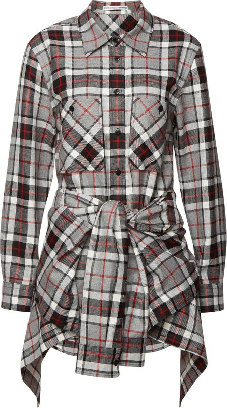 Alexander Wang Checked Wool Mini Dress with Shirting Detail