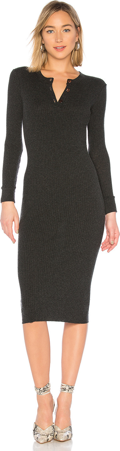 ENZA COSTA Cashmere Henley Midi Dress