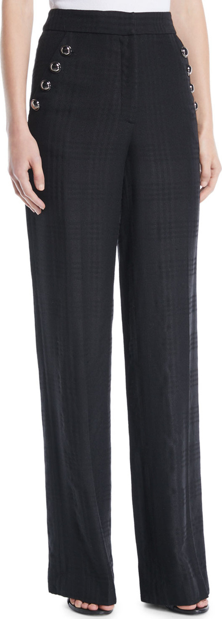 Veronica Beard Tuli High-Rise Check Straight-Leg Pants