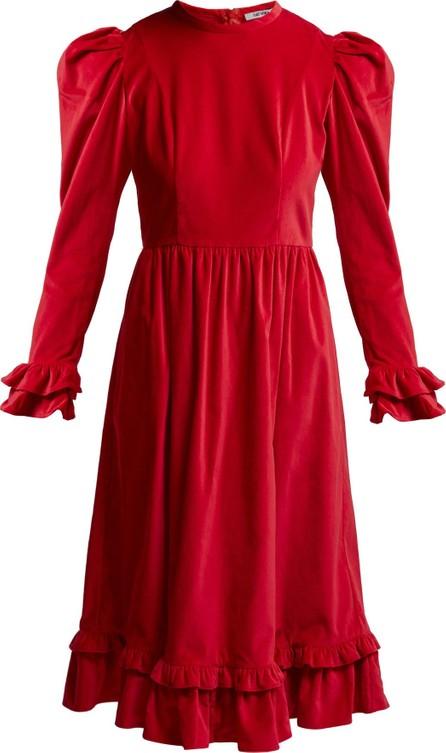 Batsheva Ruffle velvet prairie midi dress