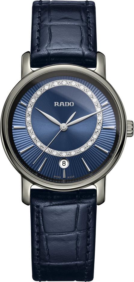 Rado DiaMaster Diamond Leather Strap Watch, 33mm