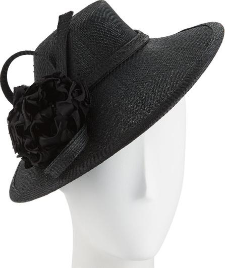 Rachel Trevor Morgan Zigzag Straw Hat w/ Flower & Twist Trim