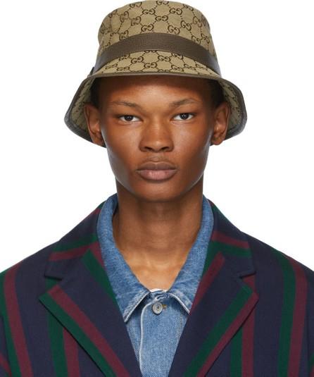 Gucci Brown & Beige Canvas GG Hat