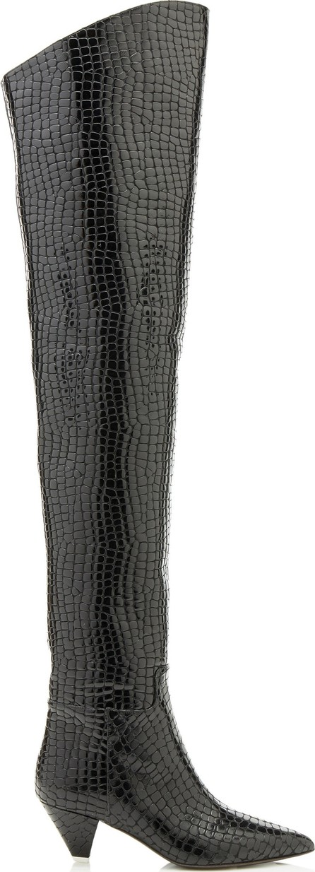 Attico Patent Faux Crocodile Over-The-Knee Boots