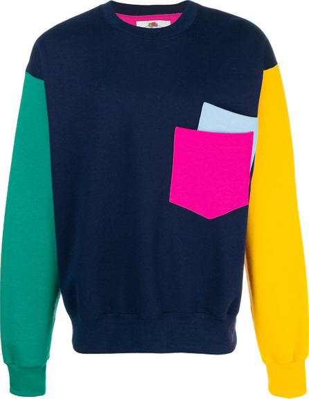Cedric Charlier Colourblock pocket sweatshirt