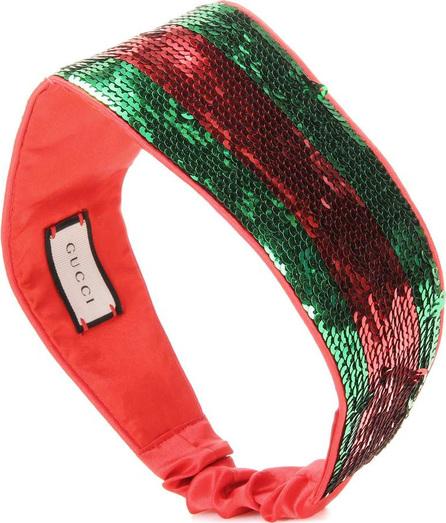 Gucci Striped sequinned silk headband