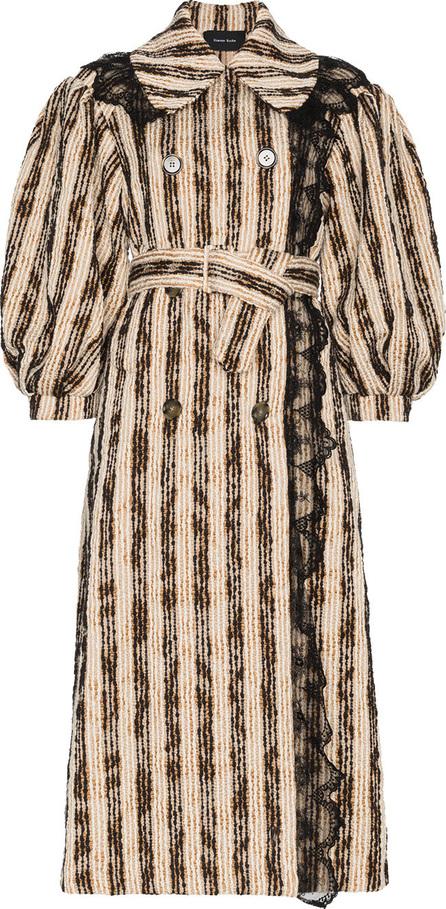 Simone Rocha Lace trim puff sleeve striped cotton blend coat