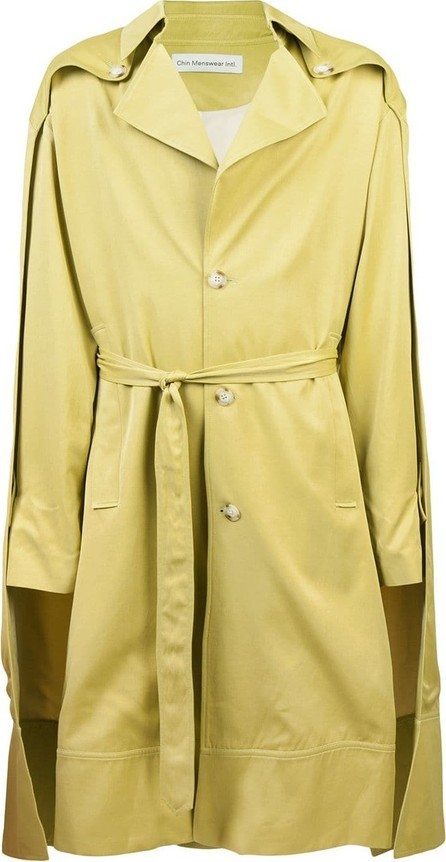 Chin Mens Double cloak trench coat