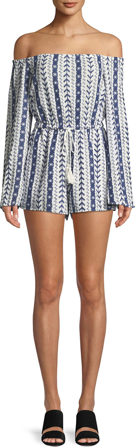 cupcakes and cashmere Amani Printed Off-the-Shoulder Romper