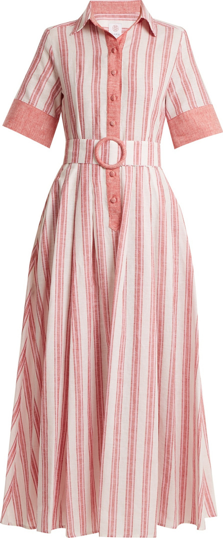 Gül Hürgel Belted striped linen-blend dress